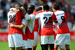 09-08-2009 VOETBAL: FC UTRECHT - WILLEM II: UTRECHT<br /> Utrecht wint met 1-0 van Willem II / Utrecht met oa Jan Wuytens, Dries Mertens, Loic Loval, Jacob Mulenga en Francis Dickoh die de 1-0 maakte<br /> &copy;2009-WWW.FOTOHOOGENDOORN.NL