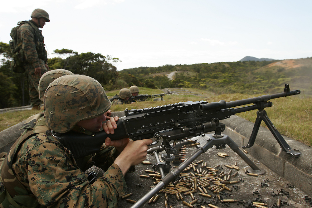 U.S. marines from Camp Schwab, Second Platoon of the Combat Engineer Companytrain on Okinawa...October 29 2005, United States and Japan had agreed to shift 7,000 Marines from Okinawa to Guam during the next six years. There are  more than 14,000 U.S. Marines in Japan, and almost all of them are stationed in Okinawa.