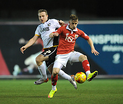 Bristol City's Joe Bryan challenges for the ball with Port Vale's Chris Birchall - Photo mandatory by-line: Dougie Allward/JMP - Mobile: 07966 386802 - 10/02/2015 - SPORT - Football - Bristol - Ashton Gate - Bristol City v Port Vale - Sky Bet League One