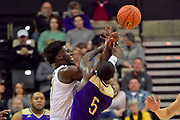 Vanderbilt Commodores forward Simisola Shittu (11) fights for control of the ball against Alcorn State Braves guard Khari Jabriel Allen (5) during the first half of a NCAA college basketball game in Nashville, Tenn., Friday, Nov 16, 2018. (Jim Brown/Image of Sport)