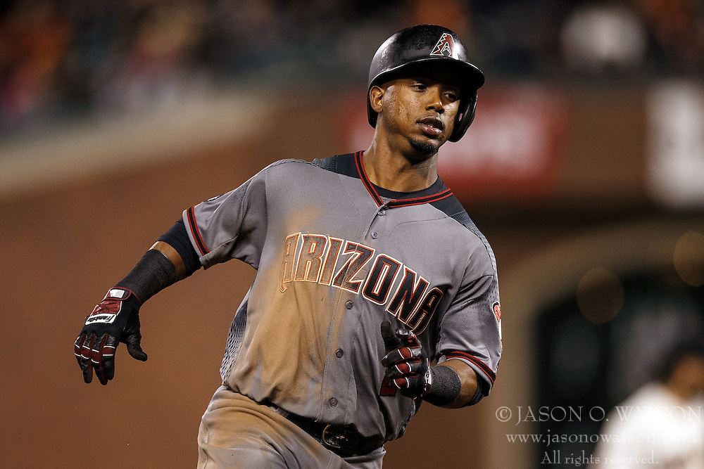 SAN FRANCISCO, CA - APRIL 18: Jean Segura #2 of the Arizona Diamondbacks runs to third base against the San Francisco Giants during the seventh inning at AT&T Park on April 18, 2016 in San Francisco, California. The Arizona Diamondbacks defeated the San Francisco Giants 9-7 in 11 innings.  (Photo by Jason O. Watson/Getty Images) *** Local Caption *** Jean Segura