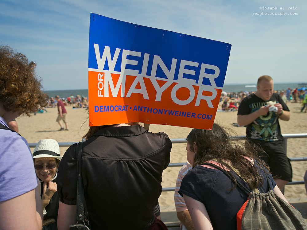 Campaign workers on Coney Island, New York, NY, US