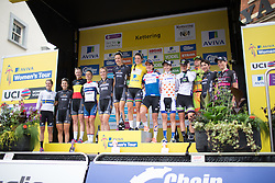 The podium of the 2016 Aviva Women's Tour, with all the jersey winners and the best team.