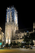 Mechelen is a city and municipality in the province of Antwerp, Flanders, Belgium.<br /> <br /> On the Photo:  Grote Markt (Large Market square), St. Rumbold's Cathedral. The Sint-Romboutskathedraal (St. Rumbold's Cathedral) with its dominating tower (UNESCO World Heritage ID 943-016); the Sint-Janskerk (Church of St. John the Evangelist) exhibits 'The Adoration of the Magi' and the Kerk van Onze-Lieve-Vrouw-over-de-Dijle (Church of Our Lady across the river Dijle) 'The Miraculous Draught of Fishes', paintings by Rubens; the domed baroque Basiliek van Onze-Lieve-Vrouw-van-Hanswijk by native architect Lucas Faydherbe, of whom some sculptures can also be found in the cathedral – he was a pupil and leading assistant of Rubens; the baroque Begijnhofkerk (Church of the Beguines, dedicated to St. Alexis and St. Catherine); the former Jesuit church Sint-Pieter en Pauluskerk (Saints Peter and Paul) and the present Jesuit Church of Our Lady of Leliendaal.