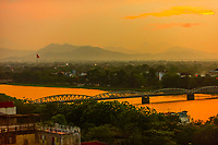 Cau Truong Tien Bridge. Built in 1899, this Gothic steel bridge over the Huong river was designed by Gustave Eiffel. Hue, Central Vietnam.