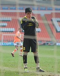 BLACKPOOL, ENGLAND - Wednesday, March 3, 2011: Liverpool's Gerardo Alfredo Bruna Blanco looks dejected as his penalty kick is saved during the FA Premiership Reserves League (Northern Division) match against Blackpool at Bloomfield Road. (Photo by David Rawcliffe/Propaganda)