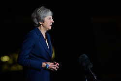 Prime Minister Theresa May makes a statement outside 10 Downing Street, London, confirming that Cabinet has agreed the draft Brexit withdrawal agreement. Picture date: Wednesday November 14th, 2018. Photo credit should read: Matt Crossick/ EMPICS Entertainment.