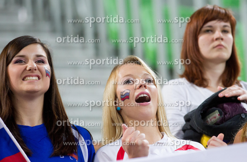 Fans of Slovenia after winning the volleyball match between National Teams of Slovenia and Croatia in 2nd leg of Eurovolley 2013 Qualifications on June 8, 2013 in Arena Stozice, Ljubljana, Slovenia. (Photo By Vid Ponikvar / Sportida)