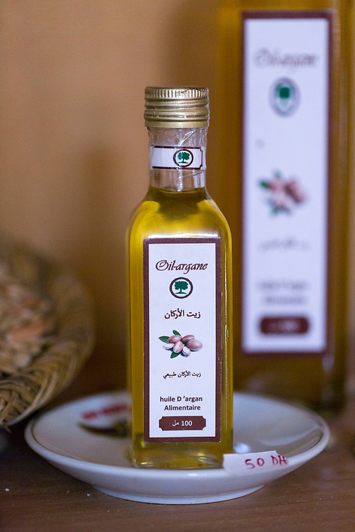 AOULOUZ, MOROCCO - May 23rd 2016 - Culinary and cosmetic argan oil products at the Co-operative Agricole Feminin Tagmat, Duoar Tidnass, near Aoulouz, Taliouine & Taroudant Province, Souss Massa Draa region of Southern Morocco.