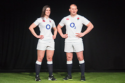 Hurlingham Club, London, January 27th 2016. England Women's Rugby Captain Sarah Hunter and England Captain Dylan Hartley at the launch of the RBS Six Nations Rugby Tornament. ///FOR LICENCING CONTACT: paul@pauldaveycreative.co.uk TEL:+44 (0) 7966 016 296 or +44 (0) 20 8969 6875. ©2015 Paul R Davey. All rights reserved.