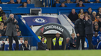 Football - 2017 / 2018 Premier League - Chelsea vs Manchester United<br /> <br /> The two managers on the touchline.  Jose Mourinho, Manager of Manchester United, is animated whilst Antonio Conte, Manager of Chelsea FC, presses the fourth official at Stamford Bridge <br /> <br /> COLORSPORT/DANIEL BEARHAM