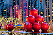 Radio City Music Hall with Christmas Decorations, Rockefeller Center, Avenue of the Americas, New York City.