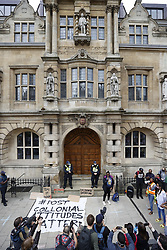 © Licensed to London News Pictures. 09/06/2020. Oxford, UK. Campaigners gather outside Oriel College at Oxford University, where they are calling for the removal of a statue of controversial imperialist Cecil Rhodes. Black Lives Matter protesters recently pulled down a statue of slave trader Edward Colston in Bristol town centre, following the death of George Floyd in the USA . Photo credit: Peter Macdiarmid/LNP