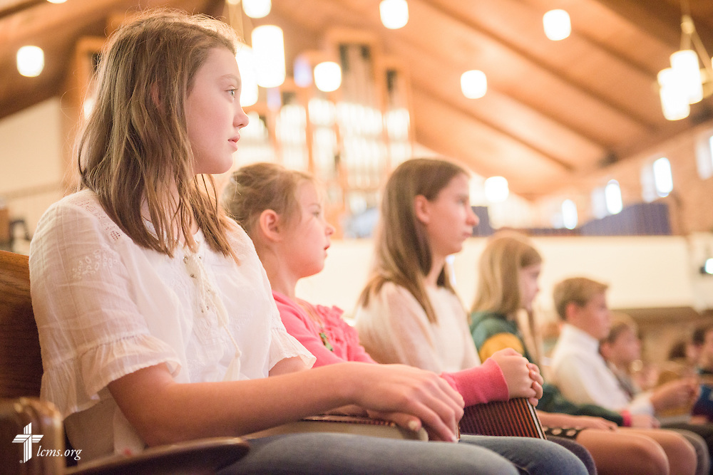 Students sit during chapel on Friday, Oct. 28, 2016, at First Immanuel Lutheran School in Cedarburg, Wis. LCMS Communications/Erik M. Lunsford