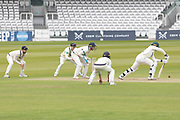 Ollie Rayner bowls to an attacking field during the Specsavers County Champ Div 2 match between Middlesex County Cricket Club and Leicestershire County Cricket Club at Lord's Cricket Ground, St John's Wood, United Kingdom on 17 May 2019.