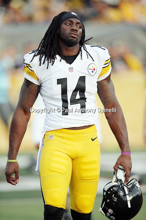 Pittsburgh Steelers rookie wide receiver Sammie Coates (14) looks on before the 2015 NFL Pro Football Hall of Fame preseason football game against the Minnesota Vikings on Sunday, Aug. 9, 2015 in Canton, Ohio. The Vikings won the game 14-3. (©Paul Anthony Spinelli)
