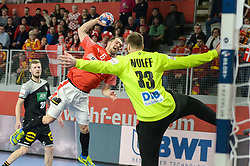 MORTENSEN Casper U. of Denmark during handball match between National teams of Germany and Denmark on Day 4 in Main Round of Men's EHF EURO 2018, on January 21, 2018 in Arena Varazdin, Varazdin, Croatia. Photo by Mario Horvat / Sportida