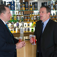 Bill Farrar (right) Group Sales & Marketing Director for The Edrington Group pictured with Stphen Swallow of Snow Leopard vodka...<br /> Picture by Graeme Hart.<br /> Copyright Perthshire Picture Agency<br /> Tel: 01738 623350  Mobile: 07990 594431