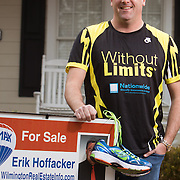 "Erik Hoffacker poses for a portrait at his home in Wilmington, N.C. Hoffacker is running his 4th Quintiles Wrightsville Beach Half Marathon on March 16th. As a local REALTOR with three children, all of whom play travel athletics, Hoffacker considers practices as ""appointments"" on his calendar. Some practices start as early as 5:45 A.M. and Hoffacker feels like he's seen a positive result in both work and training, ""the more I've scheduled, the more I've been successful in both."" Setting a good example for his children is also a motivating factor, ""I wanna show them health and fitness are important,"" he says. As his children have grown they've become active in recreation league sports and have even run some 5K races with him. (Jason A. Frizzelle)"