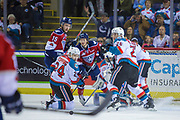 KELOWNA, CANADA - MARCH 24:  Kyle Topping #24 of the Kelowna Rockets, Cal Foote #25 of the Kelowna Rockets Michael Rasmussen #15 of the Tri-City Americans at the Kelowna Rockets game on March 24, 2018 at Prospera Place in Kelowna, British Columbia, Canada.  (Photo By Cindy Rogers/Nyasa Photography,  *** Local Caption ***
