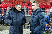(L-R) coach *John Stegeman* of Heracles Almelo, coach *John van den Brom* of AZ Alkmaar