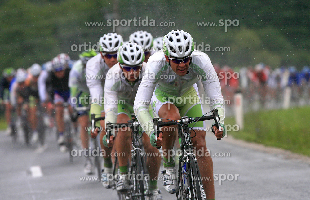Riders of team Perutnina Ptuj (in front  Gregor Gazvoda of Slovenia (Perutnina Ptuj)) leading the peloton in last 4th stage of the 15th Tour de Slovenie from Celje to Novo mesto (157 km), on June 14,2008, Slovenia. (Photo by Vid Ponikvar / Sportal Images)/ Sportida)