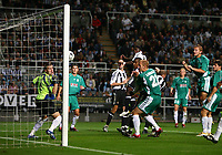 Photo: Andrew Unwin.<br /> Newcastle United v Levadia Tallinn. UEFA Cup. 28/09/2006.<br /> Newcastle's Obafemi Martins (R of C) scores his team's first goal.