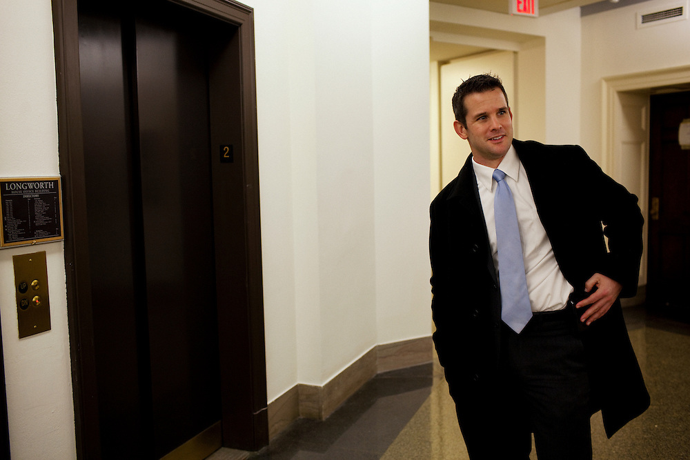 Freshman Congressman Adam Kinzinger, 32, (Republican, Illinois) leaves his new office at the Longworth Building in Washington, DC after being sworn in as a congressman on Wednesday, January 5, 2011. He will be a member of the 112th Congress, and represents the 11th Congressional District.