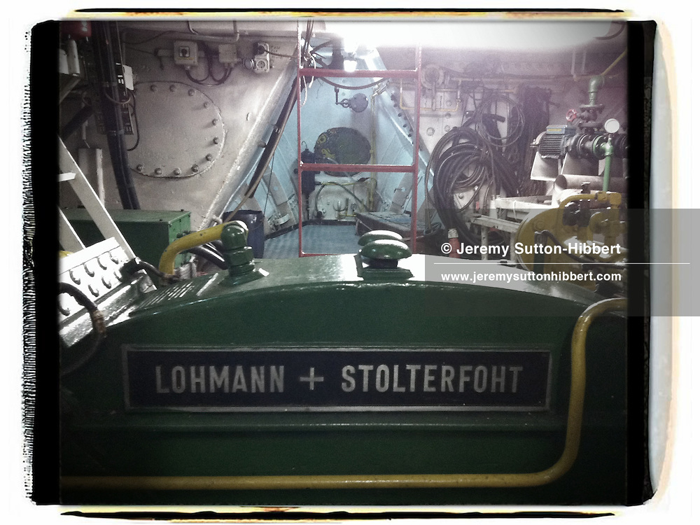 The Lohmann + Stolterfoht gear box in the engine room, on the Greenpeace ship Rainbow Warrior, as it sails to Fukushima in Japan, on Tuesday 26th April 2011.