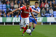 Charlton Athletic midfielder Jordan Cousins charges down the wing during the Sky Bet Championship match between Reading and Charlton Athletic at the Madejski Stadium, Reading, England on 17 October 2015. Photo by Mark Davies.