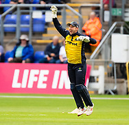 Chris Cooke of Glamorgan celebrates catching Cameron Delport of Essex of the bowling of Graham Wagg<br /> <br /> Photographer Simon King/Replay Images<br /> <br /> Vitality Blast T20 - Round 8 - Glamorgan v Essex - Friday 9th August 2019 - Sophia Gardens - Cardiff<br /> <br /> World Copyright © Replay Images . All rights reserved. info@replayimages.co.uk - http://replayimages.co.uk