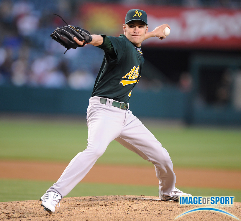 Apr 29, 2007; Anaheim, CA, USA; Oakland Athletics starter Greg Smith (23) pitches during game against the Los Angeles Angels at Angel Stadium. Mandatory Credit: Kirby Lee/Image of Sport-US PRESSWIRE