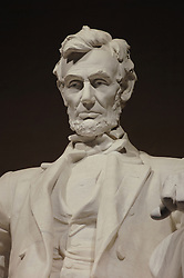 Close-up of the Abraham Lincoln statue in the Lincoln Memorial, Washington DC