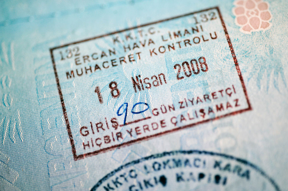 Nicosia, (Lefkosa) North Cyprus 19 April 2008 <br /> A Turkic Republic of Northern Cyprus stamp on a passport after crossing the Lokmaci passage.<br /> The Turkic Republic of Northern Cyprus (TRNC), commonly called Northern Cyprus, is a de facto independent republic located in the north of Cyprus. The TRNC declared its independence in 1983, nine years after a Greek Cypriot coup attempting to annex the island to Greece triggered an invasion by Turkey. It has received diplomatic recognition only from Turkey, on which it has become dependent for economic, political and military support. The rest of the international community, including the United Nations and European Union, recognises the sovereignty of the Republic of Cyprus over the territory of the TRNC.<br /> Photo: Ezequiel Scagnetti