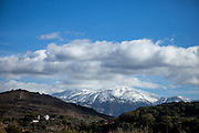White Mountains (Lefka Ori) seen from Maza, a mountain village located close to Palaiochora which is a small town in Chania regional unit on the island of Crete, Greece.