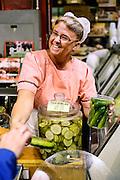 Pickle stand, Reading Terminal Market, Philadelphia, Pennsylvania, USA
