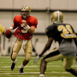 08 August 2009: Quarterback Joey Harrington (3) scrambles out of the pocket during the New Orleans Saints annual training camp Black and Gold scrimmage held at the team's indoor practice facility in Metairie, Louisiana.