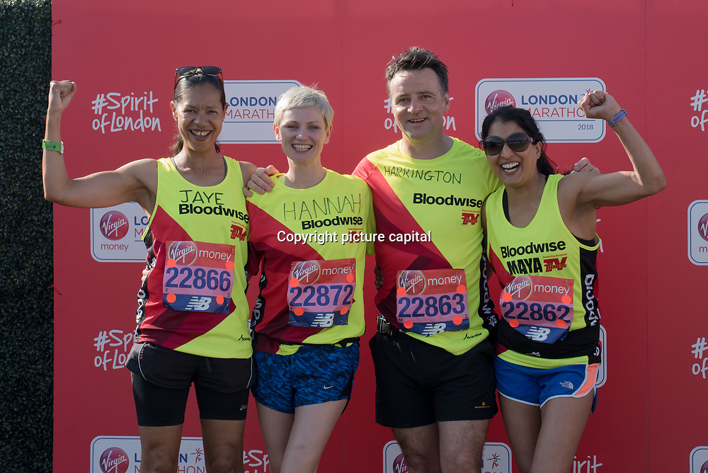 Jaye Griffiths, Richard Harrington, Hannah Daniel and Maya Sondhi at London Marathon 2018 on 22 April 2018, Blackhealth, London, UK.