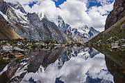 Mount Jirishanca (Icy Beak of the Hummingbird, 6126 m or 20,098 feet) reflects in a stream pond in the Cordillera Huayhuash, Andes Mountains, Peru, South America. Day 3 of 9 days trekking around the Cordillera Huayhuash.