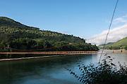 Suspension bridge over Siyom River<br /> Adi Gallong Tribe<br /> Arunachal Pradesh<br /> North East India
