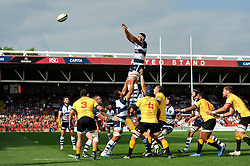 Ben Glynn of Bristol Rugby looks to win the ball at a lineout - Photo mandatory by-line: Patrick Khachfe/JMP - Mobile: 07966 386802 21/09/2014 - SPORT - RUGBY UNION - Bristol - Ashton Gate - Bristol Rugby v Cornish Pirates - GK IPA Championship.