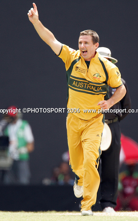 Brad Hogg celebrates at the Super 8 Cricket World Cup match, West Indies vs Australia at the Sir Vivian Richards Cricket Ground in Antigua, West Indies on Wednesday 28 March 2007. Australia batted first and scored 322 for 6. Play continued today after rain stopped play yesterday.Australia won by 103 runs. Photo: Andrew Cornaga/PHOTOSPORT<br />