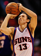 May 29, 2010; Phoenix, AZ, USA; Phoenix Suns guard Steve Nash (13) shoots a free throw against the Los Angeles Lakers during the first half in game six of the western conference finals in the 2010 NBA Playoffs at US Airways Center. The Lakers defeated the Suns 111-103. Mandatory Credit: Jennifer Stewart-US PRESSWIRE