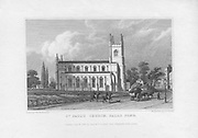 St Paul's church, Balls Pond, engraving from 'Metropolitan Improvements, or London in the Nineteenth Century' London, England, UK 1828