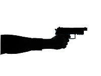 one caucasian close up detail one man hand aiming gun silhouette in studio isolated on white background