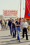 Firth Brown Shop Stewards banner at the start of a march against anti trade union legislation. Sheffield 1980.