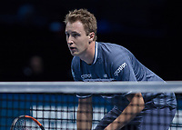 Tennis - 2017 Nitto ATP Finals at The O2 - Day One<br /> <br /> Mens Doubles: Group Eltingh/Haarhus: Henri Kontinen (Finland) & John Peers (Australia) Vs Ryan Harrison (United States) & Michael Venus (Australia)<br /> <br /> Henri Kontinen (Finland) guards the net <br /> <br /> COLORSPORT/DANIEL BEARHAM