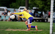11 MAY 2012 -- ALTON, Ill. -- Civic Memorial High School soccer goalie Addie Ballard dives to make a save during Civic's game with Alton Marquette High School during the Class 1A Regional Finals at Gordon Moore Park in Alton Friday, May 11, 2012. Photo © copyright 2012 Sid Hastings.