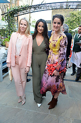 PICTURE SHOWS:-Left to right, ALICE NAYLOR-LEYLAND, ROXIE NAFOUSI and ROSANNA FALCONER.<br /> Tuesday 14th April 2015 saw a host of London influencers and VIP faces gather together to celebrate the launch of The Ivy Chelsea Garden. Live entertainment was provided by jazz-trio The Blind Tigers, whilst guests enjoyed Moët & Chandon Champagne, alongside a series of delicious canapés created by the restaurant's Executive Chef, Sean Burbidge.<br /> The evening showcased The Ivy Chelsea Garden to two hundred VIPs and Chelsea<br /> residents, inviting guests to preview the restaurant and gardens which marry<br /> approachable sophistication and familiar luxury with an underlying feeling of glamour and theatre. The Ivy Chelsea Garden's interiors have been designed by Martin Brudnizki Design Studio, and cleverly combine vintage with luxury, resulting in a space that is both alluring and down-to-earth.