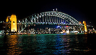 An evening view of the Sydney Harbor Bridge.